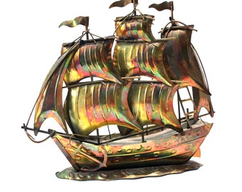 Metal Sailboat Sculpture