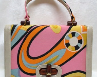 Vintage 60s MEYERS Fabric and Leather Handbag Puciesque!