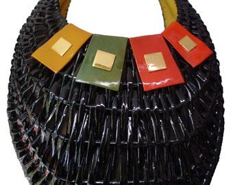 Vintage 60s KORET Wicker and Leather Handbag Purse