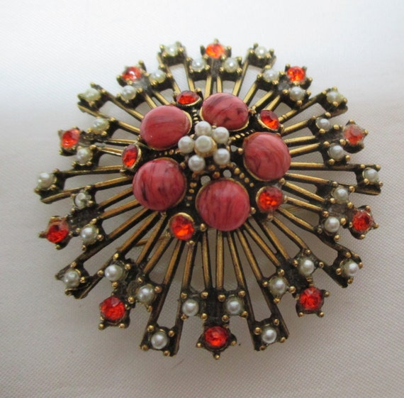 Vintage Brooch with faux pearls, coral, and rhinestones