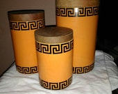 Reserved for Iceoverra5 //Vintage canister set in Greek Key pattern by Portmeirion Pottery