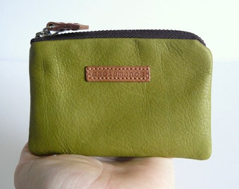 Coin purse /  moss green leather coin purse-  wallet