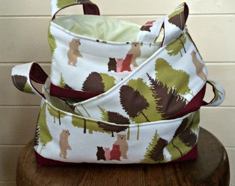 Bear Fabric Basket Set - set of three nesting baskets - READY TO DISPATCH