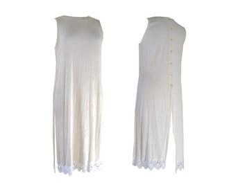 Boho Chic Super Long Shirt Seashell Lace Trim