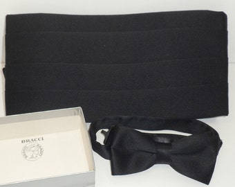 Sale Black Cummerbund and Bow Set Adjustable Nylon Satin Bracci Italian Wedding Tuxedo Prom Accessories New in Package