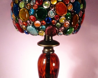 Glass Nugget Lamp Shade with Base (771)