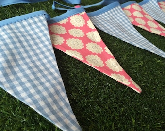 Pink Flowers and Blue Checked bunting