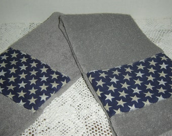 Gray hand/dish towel w/silver speckled stars on navy background, Americana, patriotic, country decor, homespun, 100% cotton terry, under 10