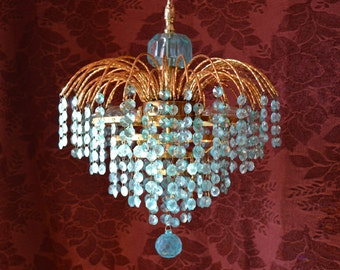 Aqua Waterfall Chandelier, Vintage Antiqued Brass and Leaded Crystal