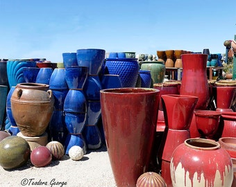 Red and Blue Pots Photography, Still Life Photo, Garden