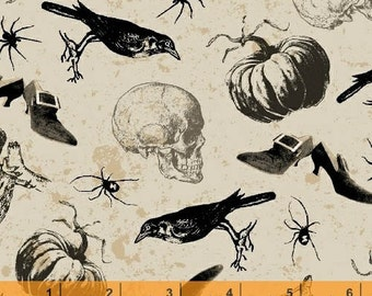 Spooky - Tossed Halloween Objects by Rosemarie Lavin from Windham Fabrics