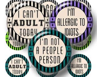 Bottle Cap Images, Sarcastic, Funny Sayings, Digital Collage Sheet, 1 Inch Circles, Instant Download, Printable Bottle Caps, No.5