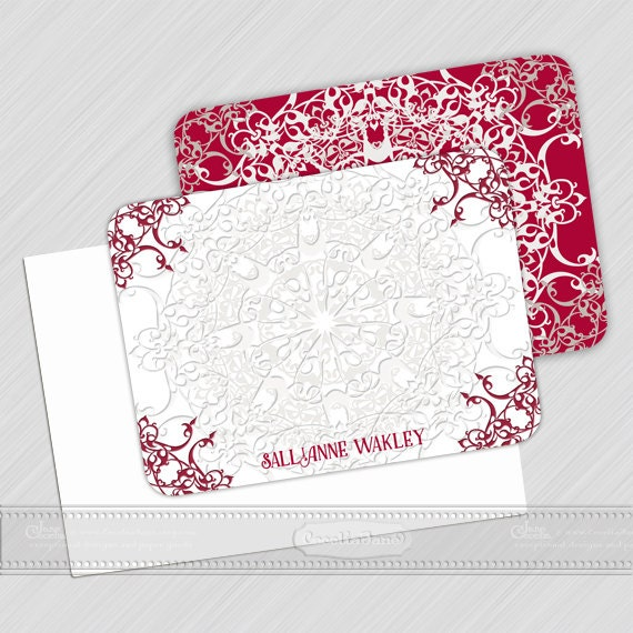 personalized notecards - set of 16 - notecard set, thank you cards, girlfriend gift, personalized stationery, red notecard set, NS139