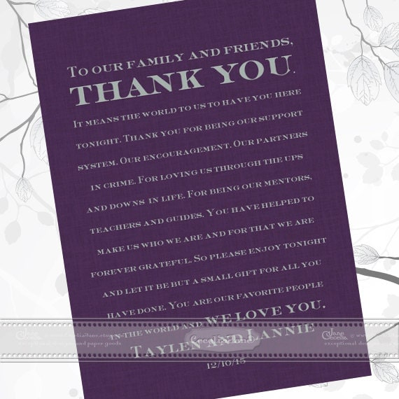 thank you cards, unique thank you card, wedding invitations, eggplant and charcoal wedding invitations, plum wedding invitations, IN444