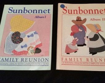 2 books -SUNBONNET FAMILY REUNION-albums 1 & 2 -126 Winning Designs with Complete Instructions