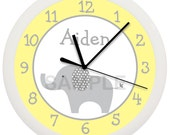 Yellow and Gray Elephant Nursery Wall Clock Personalized 10 Inch Baby Shower Gift