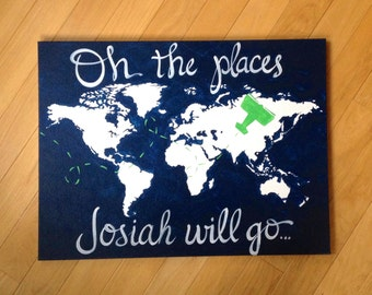 "18""x24"" oh the places you will go. Personalized with name, hand painted original modern nursery map art. navy blue, kelly green airplane"
