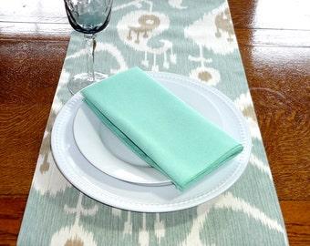 Green & Tan Ikat Table Runner Tablecloth Seafoam Green Ikat Table Runners 12x72