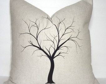 Decorative Tree Print Throw Pillow Cover Black Tree on Natural Tan 18x18