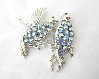 1960's Coro Rhinestone Brooch, two birds, doves, aurora borealis, AB, signed Coro, Pegasus, Collectible, Gift Idea, Mother's Day, Excellent