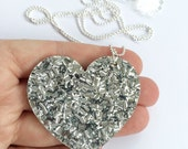 Silver Lush Glitter Heart Pendant Necklace