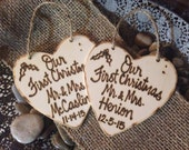 Newlywed Christmas Ornaments Personalized Set of 2 Just Married First Christmas as Mr. & Mrs. With Wedding Date and Name