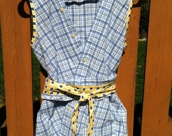 Sleeveless blouse, belted, recycled from blue and white check man's dress shirt with french blue and yellow trim, cross button closure