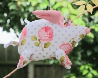 Flying pig - stuffed animal toy softie plush toy handmade soft toy piggy purple polka dot pink rose gift for birthday, get well and cheer up