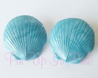 Blue Pearl Seashell Earrings