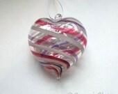 Pink White Purple Stripe Heart Ornament : DISASTER RELIEF