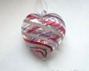 Pink White Purple Stripe Heart Ornament : DISASTER RELIEF