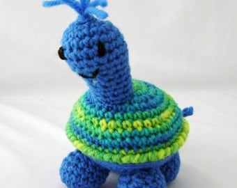 Bright Blue Turtle Crocheted Amigurumi Stuffed Toy made to order
