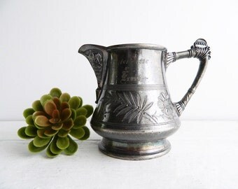 Antique Victorian Pairpoint Pitcher - Late 1800's Etched Silver  - Engraved 1861-1886