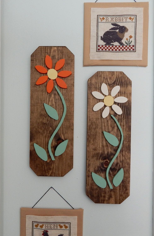 Wood Flower Wall Decor : Wood flower wall decor home art hanging