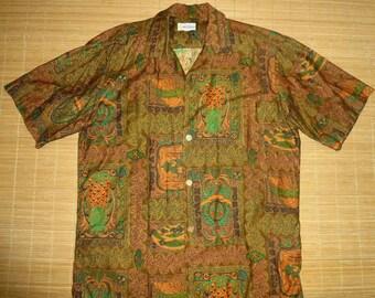 Mens Vintage 60s Andrade POSTAGE Stamp Tribal Tiki Hawaiian Aloha Shirt - L - The Hana Shirt Co
