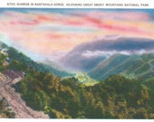 Nantahala Gorge, Smoky Mountains - Linen Postcard - Unused (KK)