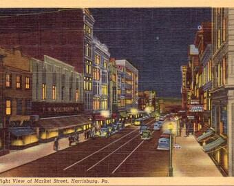Harrisburg, Pennsylvania, Market Street - Linen Postcard - Unused (GGG)