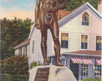 Plymouth, Massachusetts, Massasoit Statue - Linen Postcard - Unused (JJ)