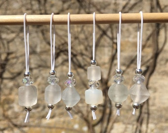 Set of six white upcycled stitch markers