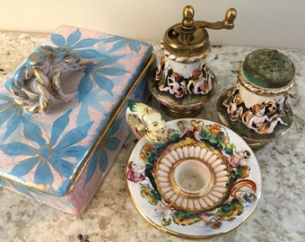 Vintage Italian Capodimonte Instant Collection - Ceramic Salt & Pepper Shaker, Trinket Box, and Candle Stick Holder