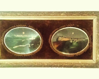 Victorian Oil Paintings Isle of Man Lighthouse On Mirror with Velvet Frame