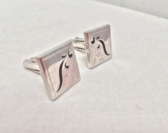 Vintage 1970s Silver & Black Etched Cuff Links