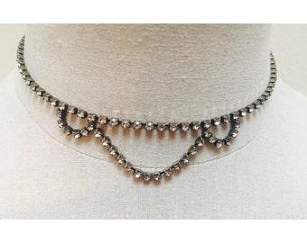 Vintage 1960s Rhinestone Choker Necklace