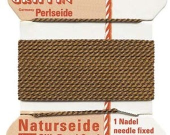 Brown Griffin Silk Bead Cord, Brown Cord, Size 6, 6 Foot Card with Needle, .7mm Brown Cord, Cord with Needle, Thin Brown Cord, Silk Cord