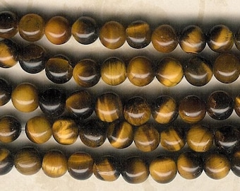 6mm Tiger Eye Round Stone, 7.5-inch Strand, 6mm Brown Tiger Eye, 6mm Golden Brown Stone, 6mm Brown Stone, Tiger Eye, Julie's Bead Store