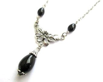 Black teardrop necklace jewelry antiqued silver flower necklace Czech black drop bead vintage victorian style simple necklace