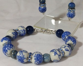 Procelain and Lapis Lazuli Bracelet and Earring Set