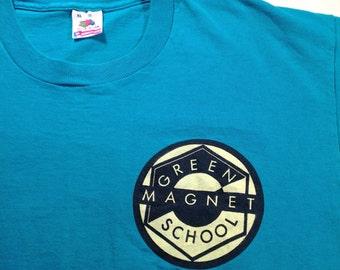 1992 Green Magnet School t-shirt, fits like a large