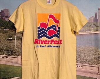 1980's St. Paul RiverFest t-shirt, soft & thin, fits like a small