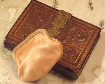 Vintage Peach Satin Change Purse For A Handbag Or Purse